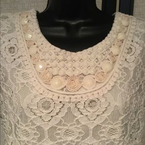 Antique White Lace over Ecru Lining Dress